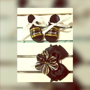 Baby Shoes and Head band for baby girls 0-3 month